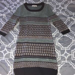 Multi-Colored Striped Sweater Dress